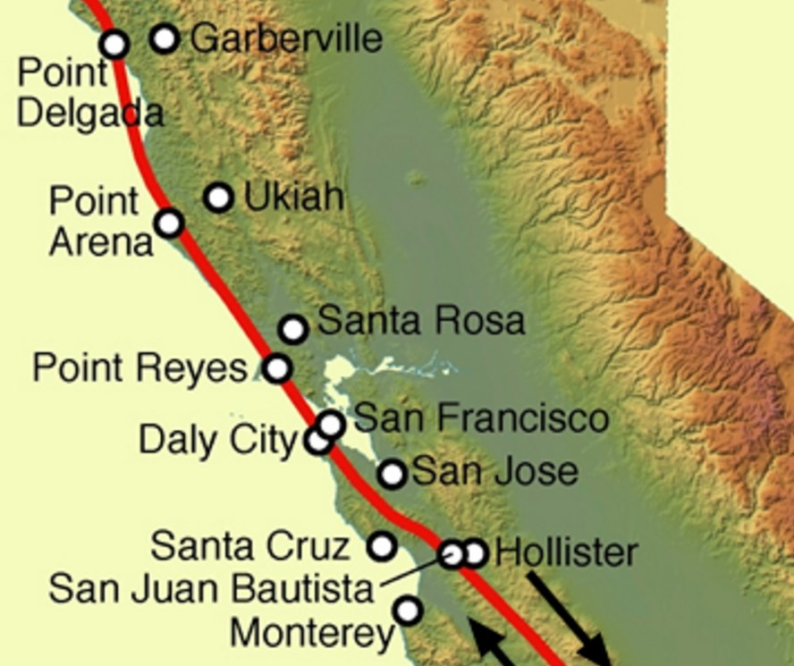 Image showing the San Andreas Fault with a red line on a map of California the cost of California