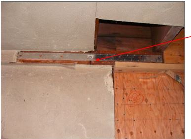 UPPER TOP PLATE BREAK IN CRIPPLE WALL CONNECTED WITH STEEL