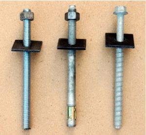 From left to right, Epoxy Bolt, Wedge Achor, and Titen Bolts