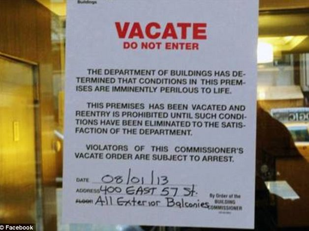 Building department notice not to enter a house damage by earthquake