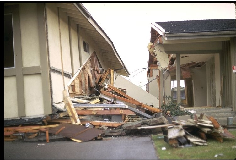 THE SAME DAMAGED HOME SHOWING THE DESTRUCTION CAUSED IN ONLY A FEW SECONDS