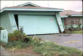Garage damaged by earthquake