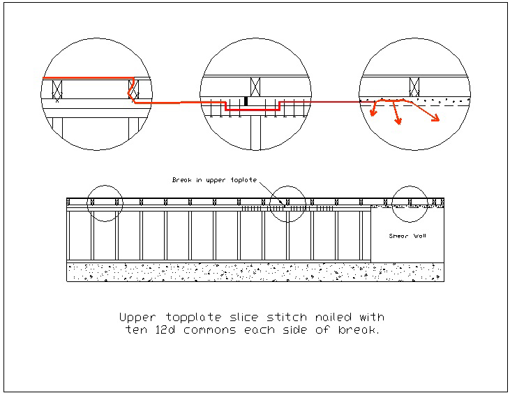 Drawing: Connecting splice in Cripple Wall top plates