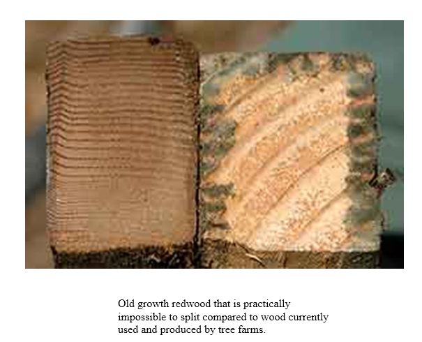 OLD GROWTH REDWOOD MAKES MUCH STRONGER SHEAR WALL AND IF THE FLUSH CUT METHOD IS USED THE PLYWOOD CAN BE NAILED DIRECTLY INTO IT. HERE IS A COMPARISON BETWEEN OLD GROWTH REDWOOD AND TREE FARM WOOD YOU BUY THESE DAYS