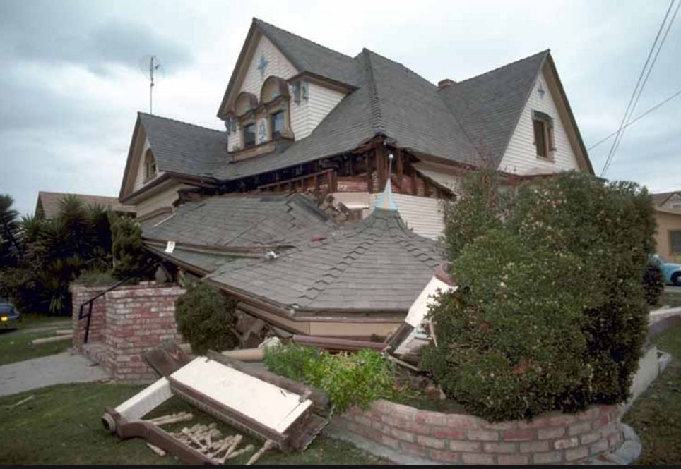 One-story house that has fallen off of its high foundation