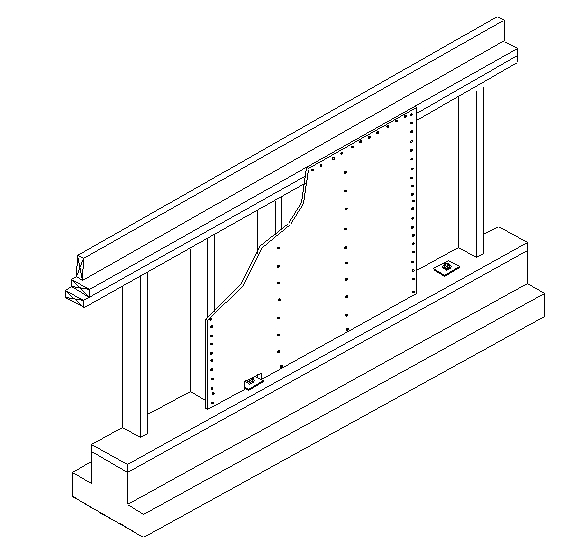 The plywood connection in the shear wall is problematic