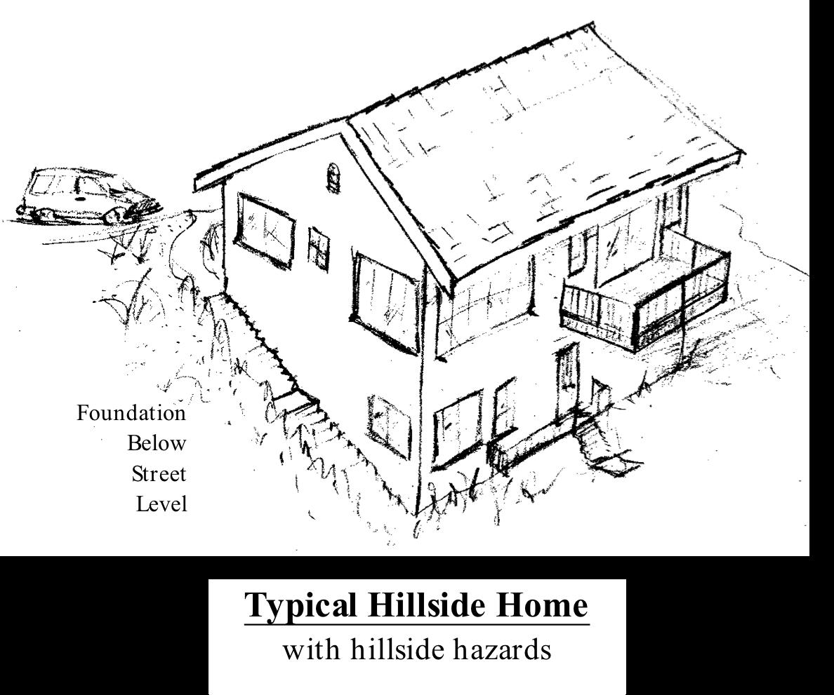 Typical hillside home with hillside hazards