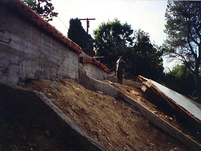Hillside home earthquake damage