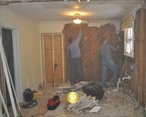 Removal of plaster which probably has lead based paint.