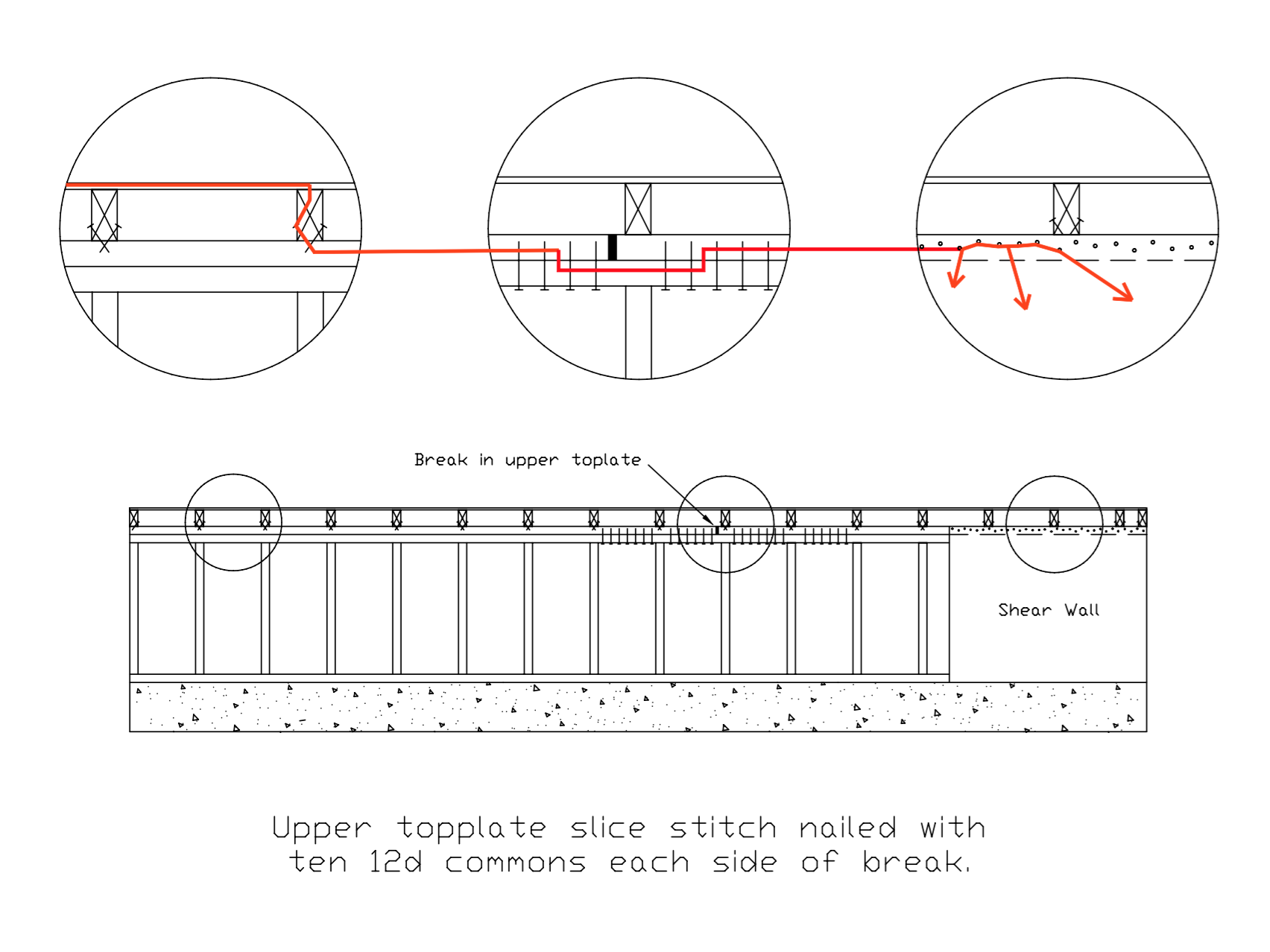 pull on shear wall close up