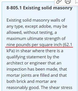 California historic building code brick shear test
