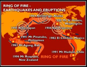 Map showing where earthquakes occur along the ring of fire